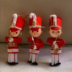 Set of 3 marching band soldier ornaments Vtg used